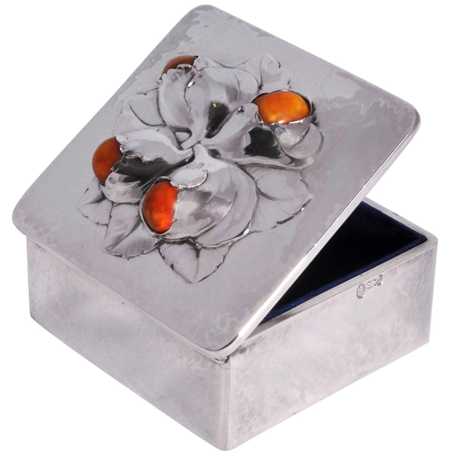 Evald Nielsen silver amber box