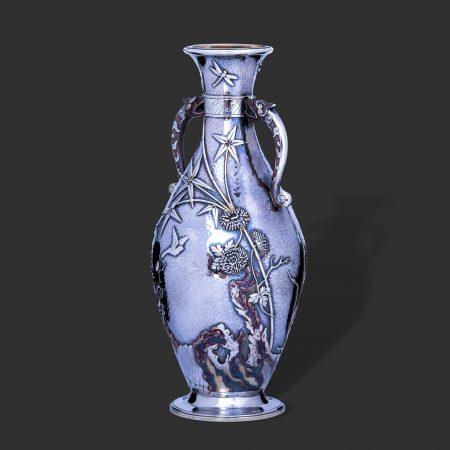 elingotn aesthetic vase. tiffany mixed metal silver
