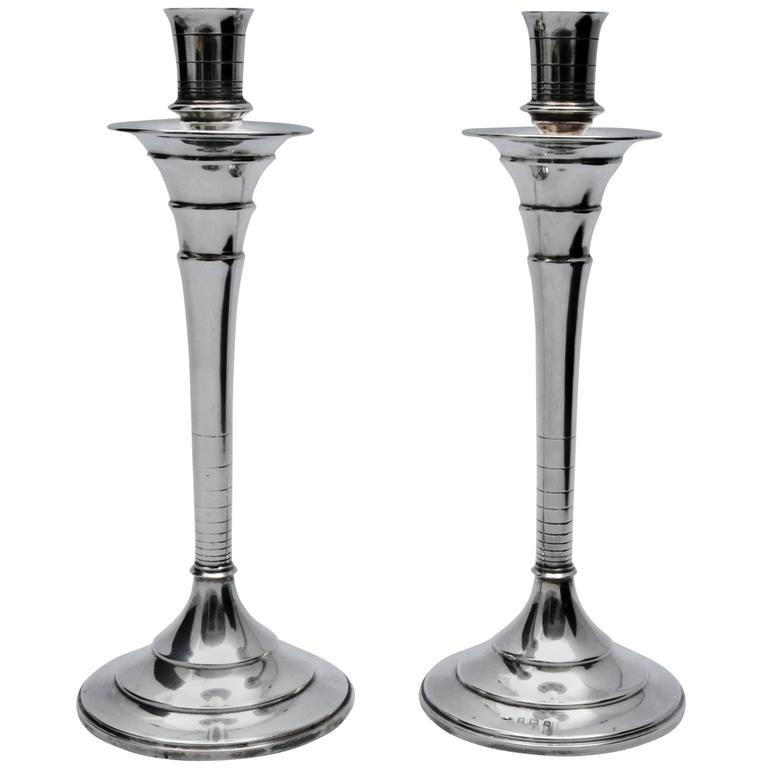 Art deco silver candlesticks