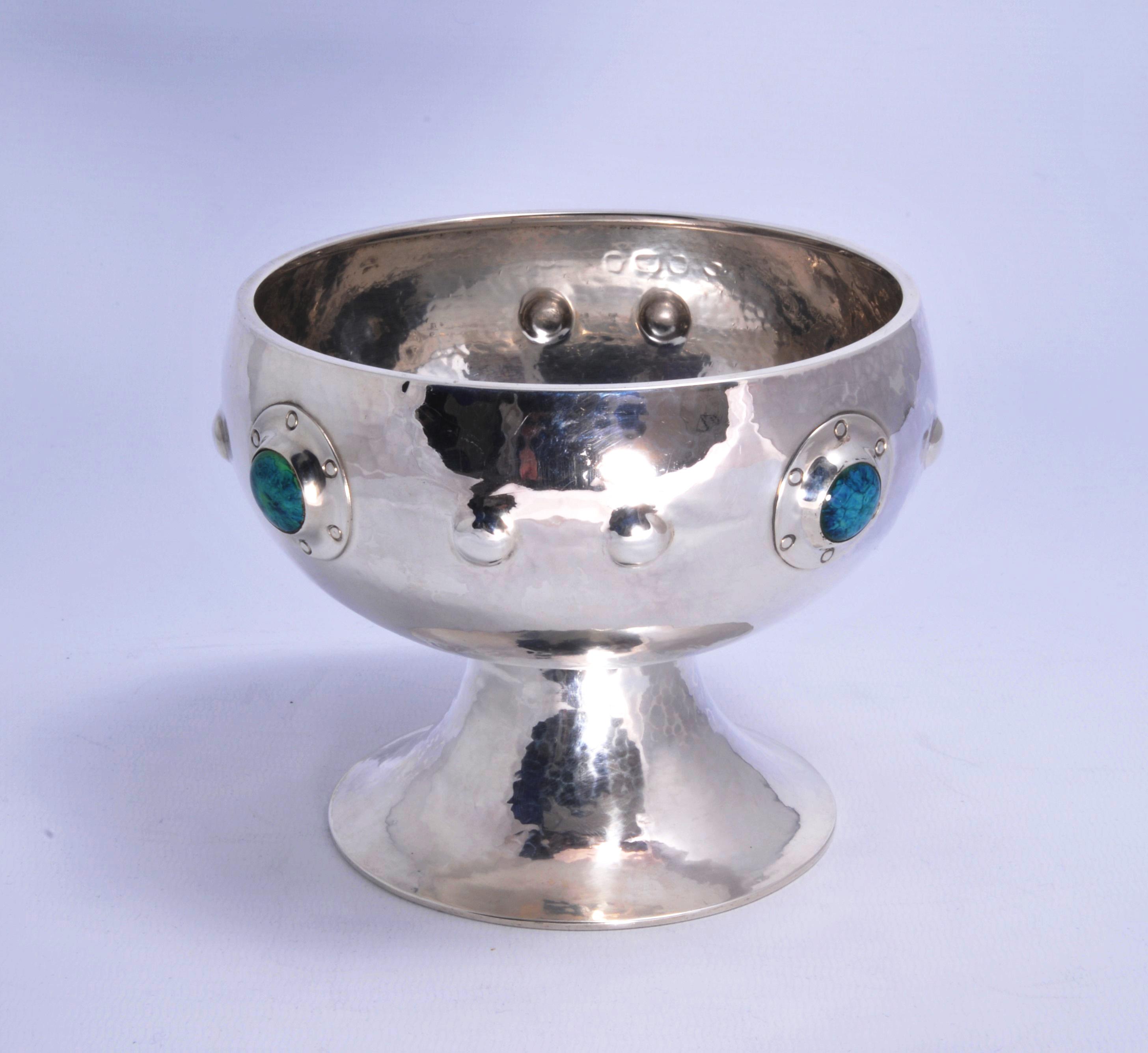 A E Jones Ruskin set footed bowl