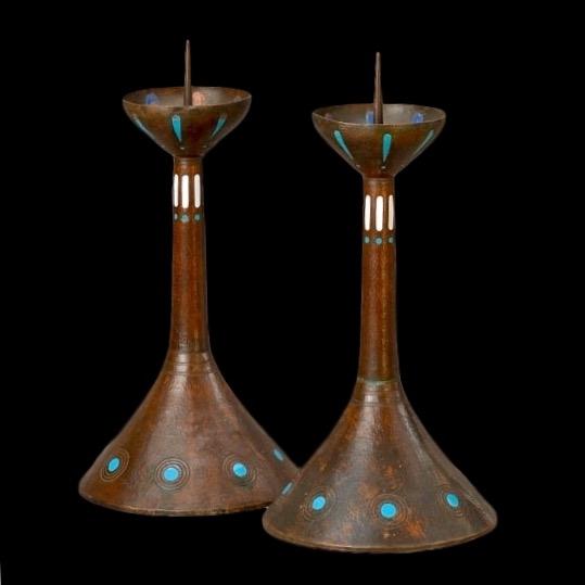 Amsterdam Schoo, Jan Eisenloeffel, arts and crafts candlesticks