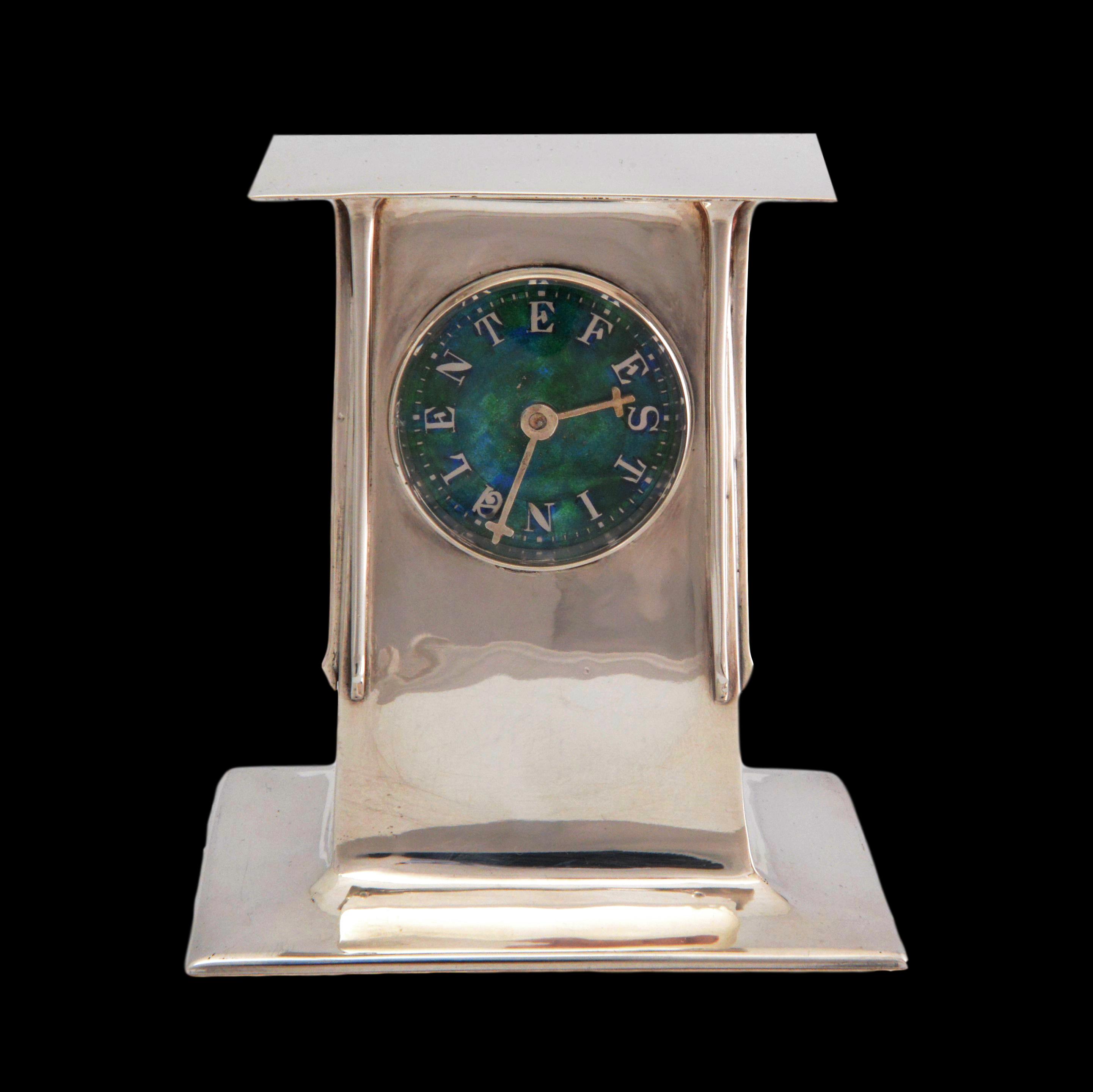 Archibald Knox clock, Liberty Cymric silver