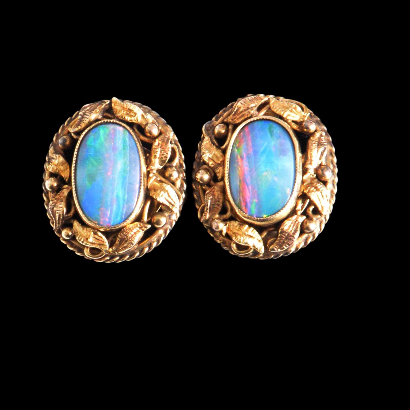 Arts crafts opal earrings
