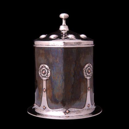 A E Jones silver tea caddy, arts and crafts tea caddy