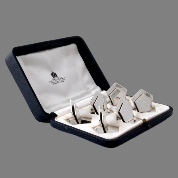 Asprey silver menu holders