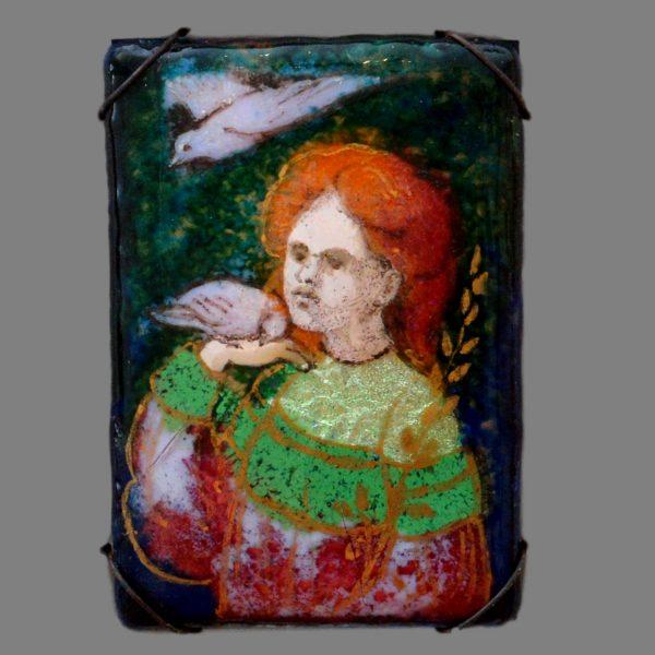 mabel sefton enamel, arts crafts enamel plaque