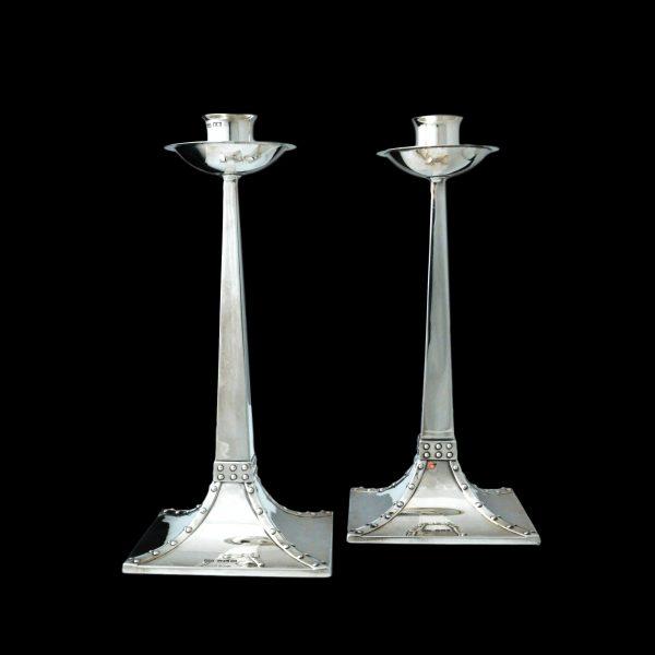James Dixon candlesticks, arts crafts silver candlesticks