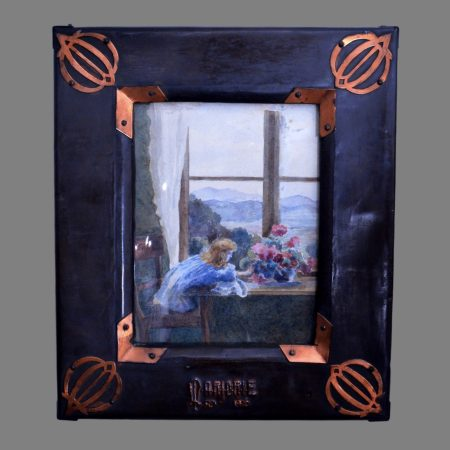 Lily day bootle, arts crafts copper frame