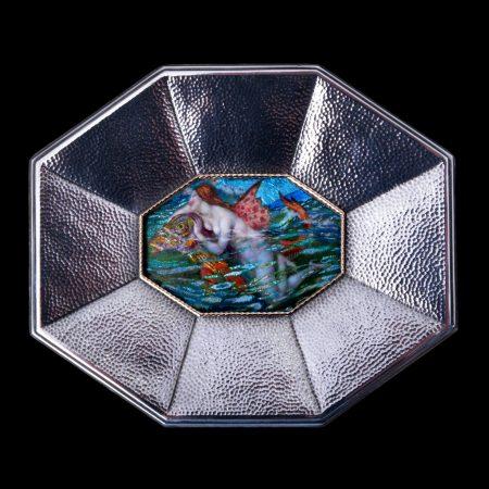 arts and crafts enamel plaque, alexander fisher enamel